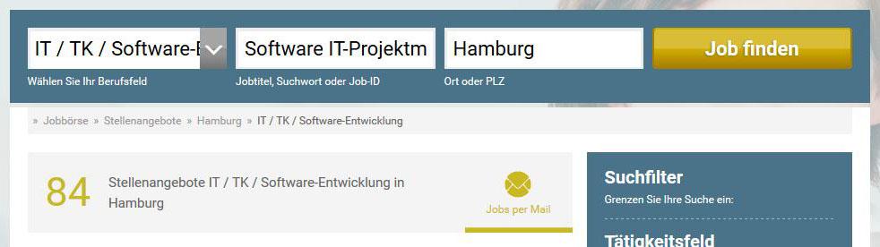 Ergebnis einer Suche mit mehreren Schlagwörtern auf stellenanzeigen.de