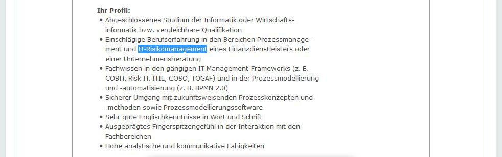 Ausschnitt aus einer Stellenbeschreibung auf stellenanzeigen.de