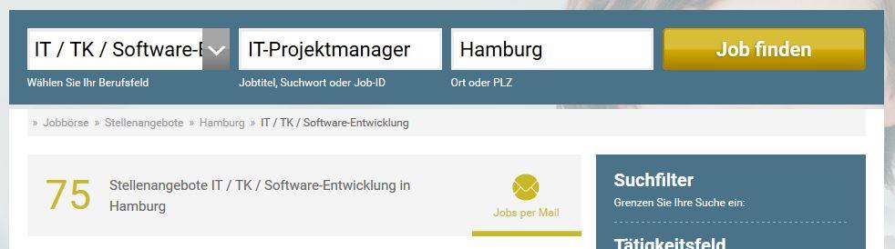 """Ergebnis der Suche nach """"IT-Projektmanager"""" auf stellenanzeigen.de"""