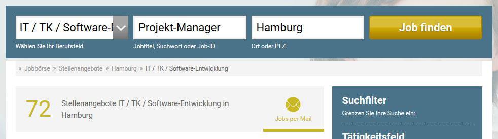 """Ergebnis der Suche nach """"Projekt-Manager"""" auf stellenanzeigen.de"""