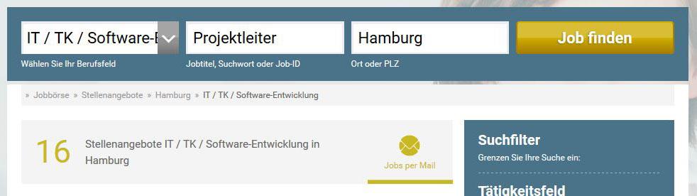 """Ergebnis der Suche nach """"Projektleiter"""" auf stellenanzeigen.de"""