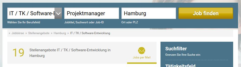 """Ergebnis der Suche nach """"Projektmanager"""" auf stellenanzeigen.de"""